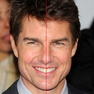 image of Tom Cruise with midline defined